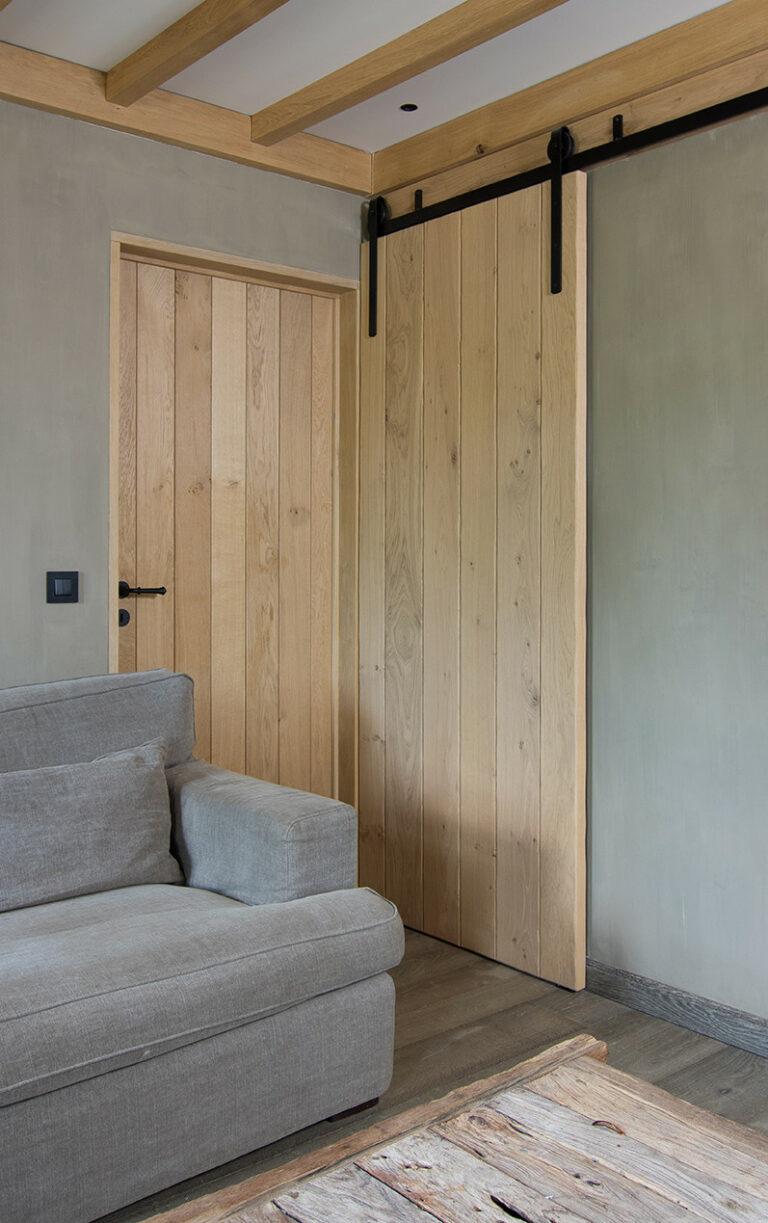 Houten binnendeur en schuifdeur